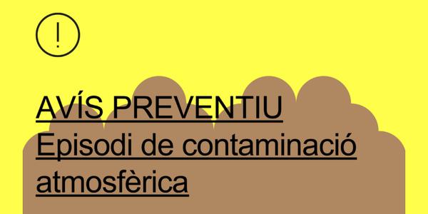 Avís preventiu per nivells moderats de contaminació de l'aire