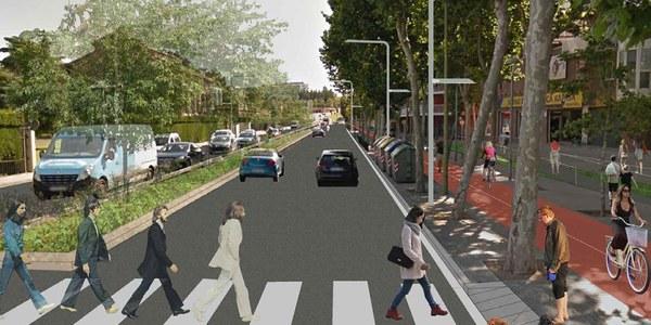 Obres a la carretera de Sant Boi per convertir-la en un corredor metropolità de transport públic i sostenible