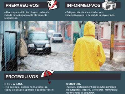 S'activa l'alerta de Protecció Civil per inundacions i fortes pluges entre divendres i dissabte