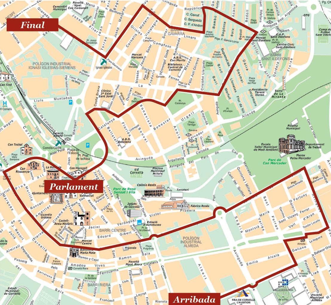 Cornella De Llobregat Mapa.Plano De Cornella De Llobregat